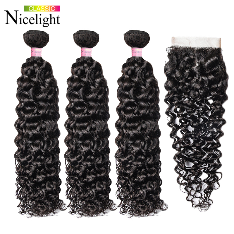 Water Wave Hair With Closure Indian Hair Extension 4X4 Lace Closure With Bundles Nicelight 3 Bundles With Closure Waterwave Hair