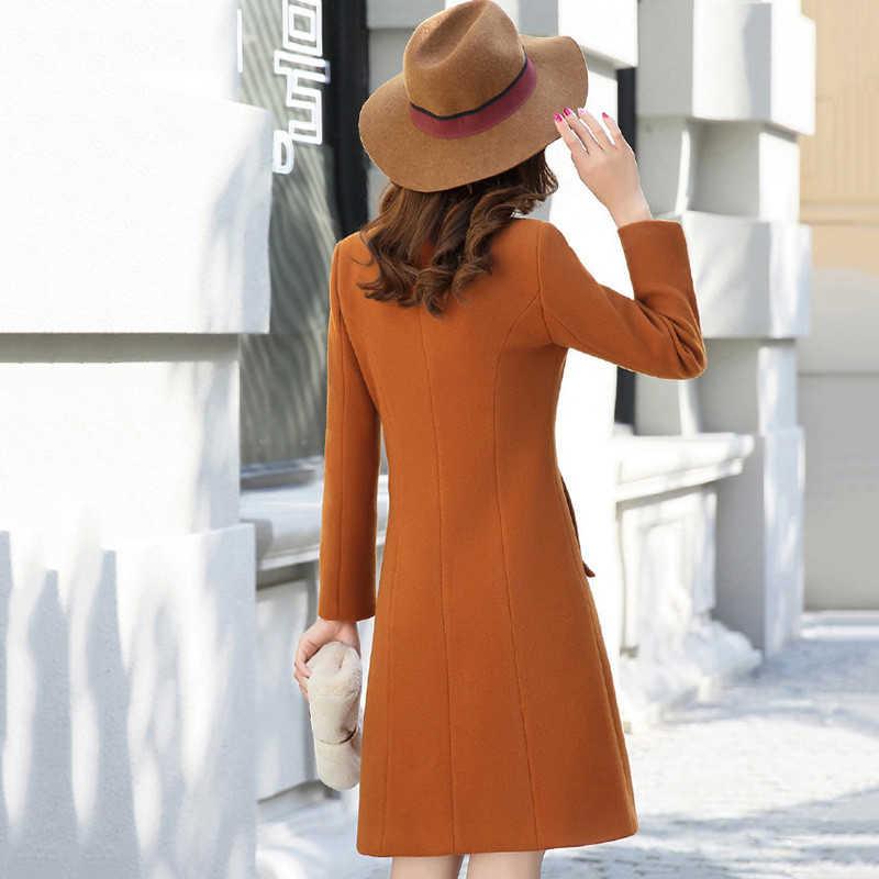 Outerwear Overcoat Spring Autumn Women Wool Coat New Fashion Long Woolen Coat Single Breasted Slim Type Female Winter Wool Coats