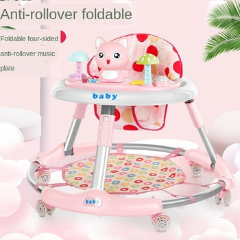 New Children's Walker 6-24 Months Baby Walker Baby Multi-function Anti-rollover Foldable Walker with Music Feet Without battery new design baby walker multifunctional music plate u type folding easy anti rollover safety scooter baby walkers portable carry