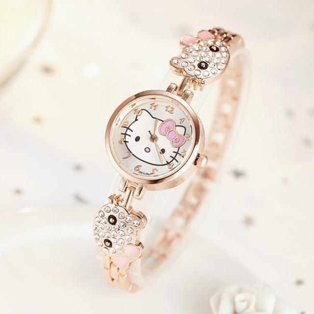 Children Watches Cartoon Lovely Bracelet Student Kids Girl Cute Bling Bling Crystal Diamond Watch Birthday Gift High Quality