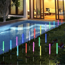 2pcs/set Garden Outdoor Waterproof Solar Lights Tube Lamp Backyard Stake Bubble RGB Durable Pathway Color Changing Decorations(China)