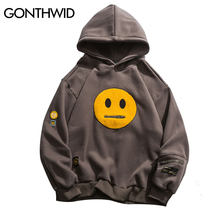 GONTHWID Rits Pocket Glimlach Gezicht Patchwork Fleece Hoodies Sweatshirts Streetwear Heren Hip Hop Casual Trui Hooded Mannelijke Tops(China)