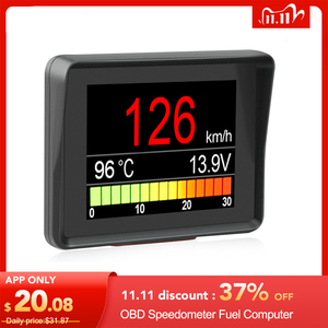 Image 1 - Ordenador a bordo A203 OBD2, pantalla Digital para coche, velocímetro, medidor de consumo de combustible, medidor de temperatura, escáner OBD2