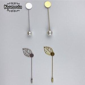 Boutonnieres prendedor de solapa con perla, accesorios para fabricación de joyas, prendedores para ropa, Base en blanco, broches de bandeja D147, 10 Uds.