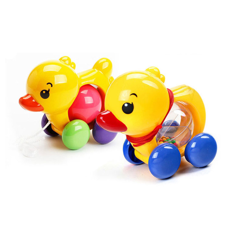 Toddler Fun Pull Along Small Duck With Rattles Toy Kids Baby Learn Walk Plastic Cute Toys Random Color