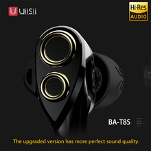 uiisii headphones 100% original BA-T8S Hybrid technology of headset 2dd+1ba 6 driver hifi triple in-ear earphone