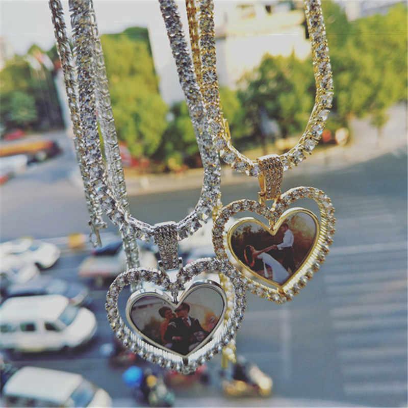 Hip Hop wykonane na zamówienie zdjęcie serce obrotowe dwustronne Iced Out Bling sześcienny naszyjnik cyrkoniowy i wisiorek dla mężczyzn biżuteria łańcuch tenisowy