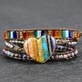 Высококачественный браслет ручной работы с 7 чакрами в форме сердца, очаровательный кожаный браслет и браслет для женщин и мужчин, энергети...