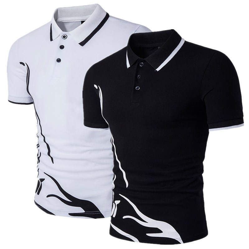 ZOGAA Brand New Men Polo Shirt Short Sleeve Male Casual Cotton Solid Anti-shrink Tops Mens Print Design Slim Fit Polo Shirt Men