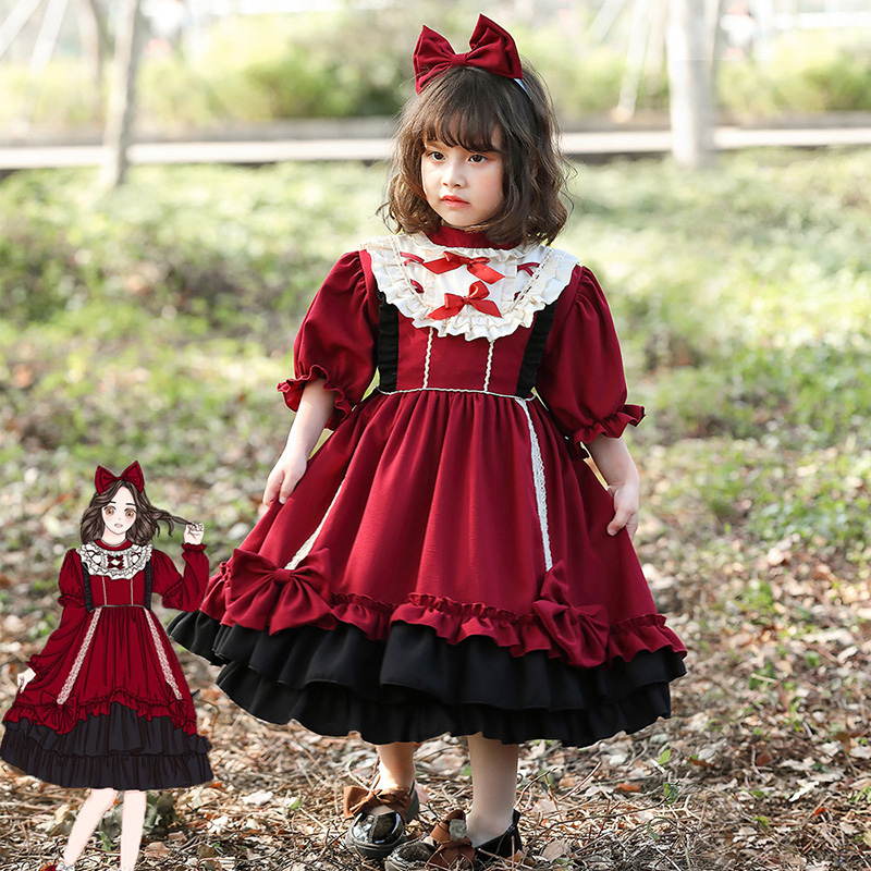 New Cotton Girls Lolita Princess Dress Costumes Cosplay For Children Birthday Party Photography Art Photo Daily Lolita Suit