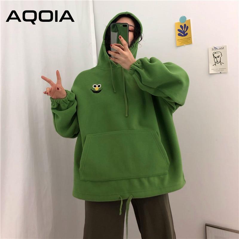 AQOIA Autumn Cartoon Loose Women s Hoodies Sweatshirt Pockets Oversize Embroidered Sweatshirts Women 2019 Winter Clothing