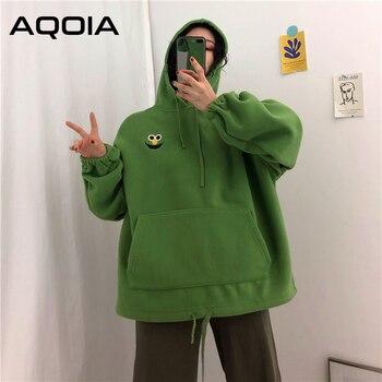 AQOIA Autumn Cartoon Loose Women s Hoodies Sweatshirt Pockets Oversize Embroidered Sweatshirts Women 2019 Winter