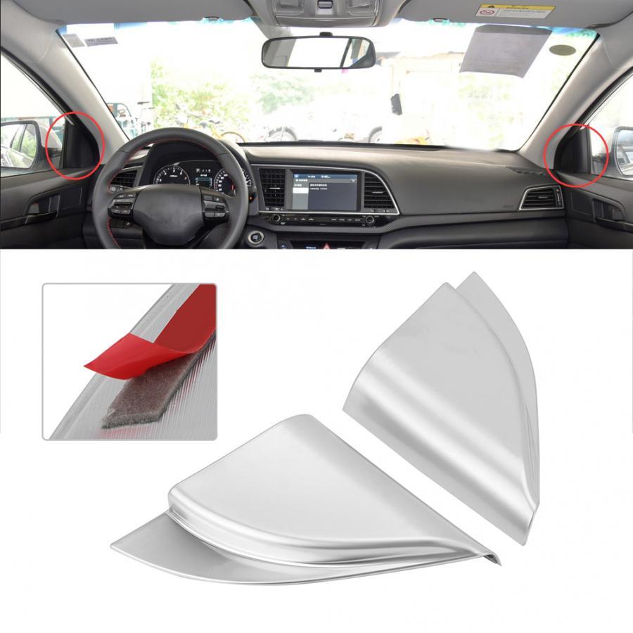 2 pces um pilar triangular capa decorativa se encaixa para hyundai elantra 2018-2019 esquerda-mão dirigindo abs material estilo do carro
