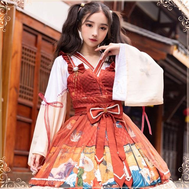 Купить японское винтажное милое платье в стиле лолиты с перекрещивающимися картинки цена