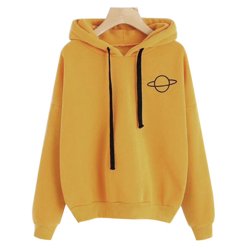 Women Hoodies Casual Kpop Planet Print Solid Loose Drawstring Sweatshirt Fashion Long Sleeve Hooded 2019 Autumn Female Pullover