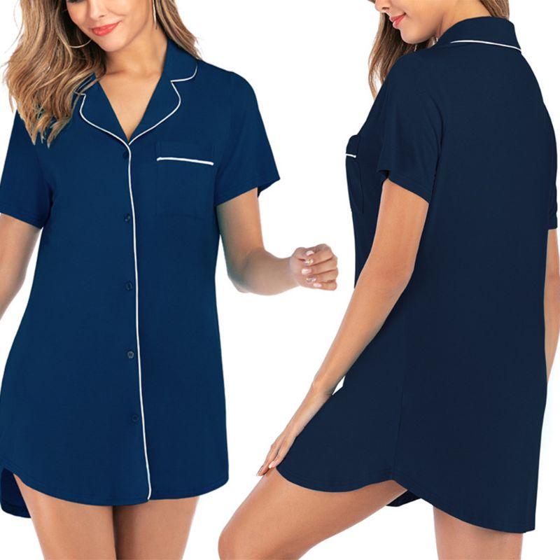 Women Short Sleeve Boyfriend Sleepshirt Button Down Lapel Collar Loose Nightgown M7DD