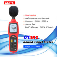 UNI-T UT352 LCD Sound Level Meter Noise Tester 30-130dB Frequency 31.5-8000Hz A&C Frequency Weighting MAX/MIN/Data Logging