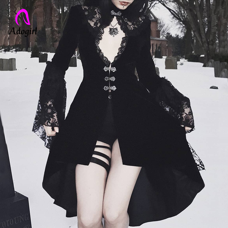 Halloween Vintage Black Women Velvet Dress Gothic Placed Hollow Out Dress Lace Patchwork Sexy Mini Female Party Dress Harajuku