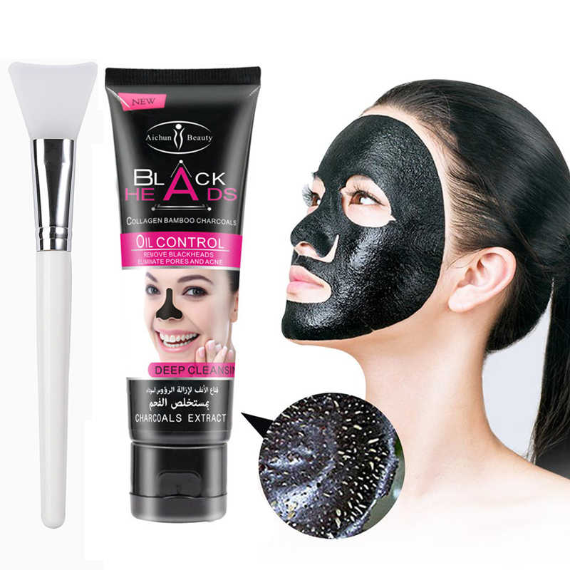 Bamboo Charcoal BlackheadลบFacial Masks Deep Cleansing Purifying Peel OffสีดำNudใบหน้าหน้ากาก