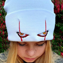 Costume-Hat Clown Movie Warm-Caps Cosplay One-Adjustable-Size Scary Eyes Knitted Christmas-Party