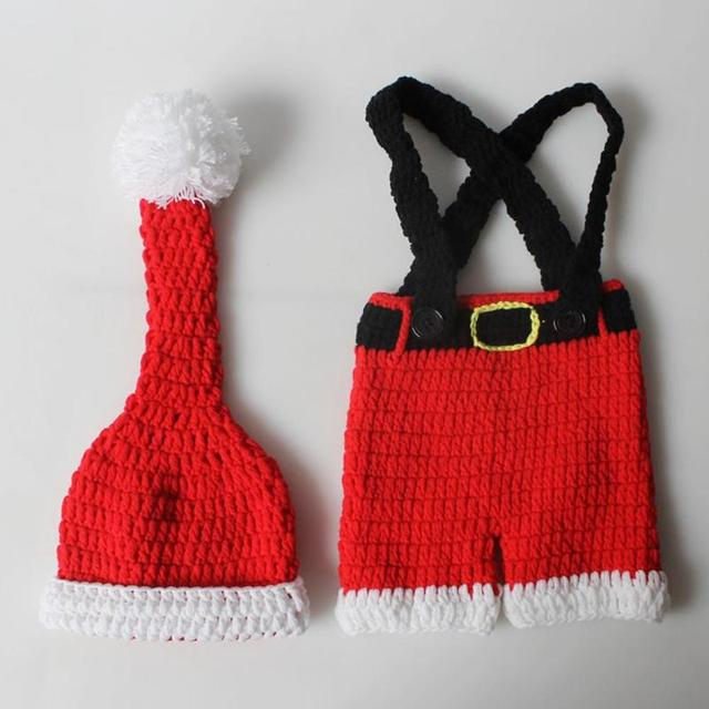 Newborn Infant Christmas Theme Photography Props Clothing Suspender Trousers+Hat European Children's Photographic Costumes 3