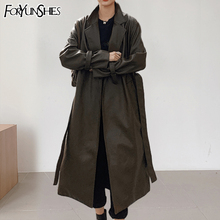 Belt Trench-Coat Faux-Leather Winter Women's Ladies Fall PU Collar Long FORYUNSHES Windbreaker