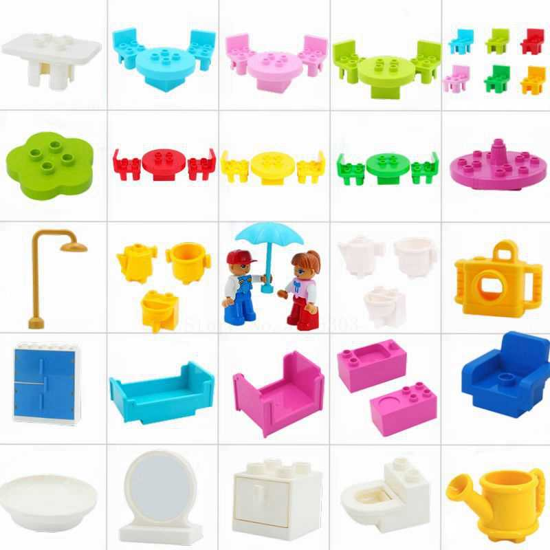 Big Size Building Blocks Compatible Legoing Duplo Wardrobe Bed Mirror Chair Creator Scene DIY Accessories Bricks Kids Baby Toys
