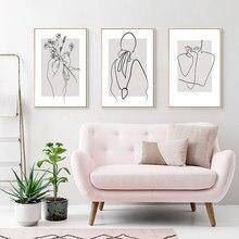 Moderne Minimalismus Abstrakte Dame Linie Körper Hand Druck Poster Blume Leinwand Malerei Wand Kunst Bilder Wohnzimmer Nordic Decor