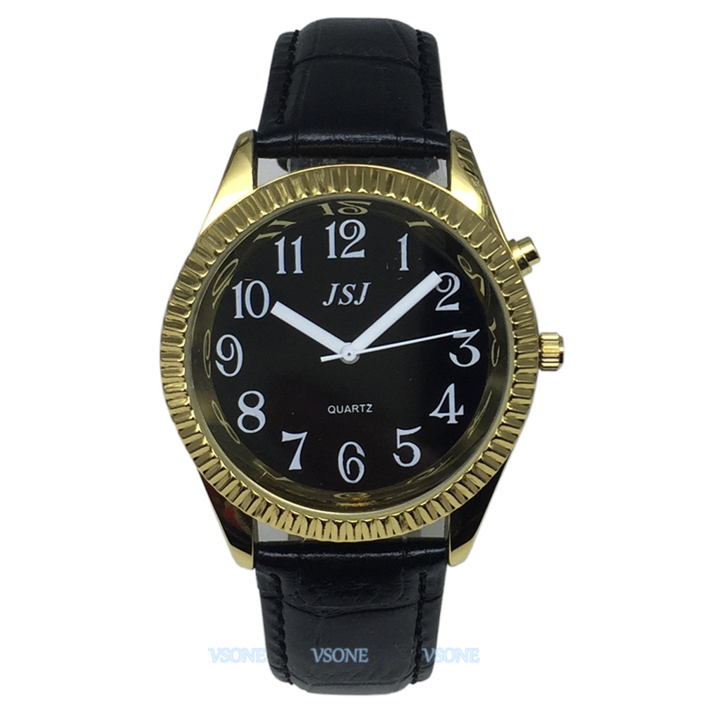 English Talking Watch With Alarm Function, Talking Date And Time, Black Dial, Black Leather Band, Golden Case TAG-307