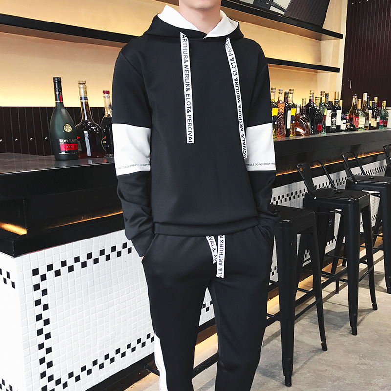 Teenager Hoodie Set Men Casual Sports Trend Handsome Autumn And Winter Webbing Drawstring Men'S Wear