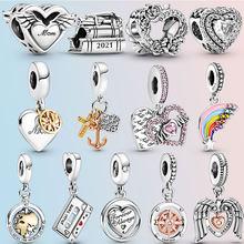 Garden Spring 2021 925 Sterling Silver Rainbow Heart Angel Wings Mum Dangle Charms fit pandora Bracelet Silver 925 Jewelry
