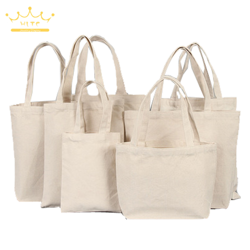 Unisex Portable Cotton Shopping Bag Beige Black Canvas Tote Bag Casual Travel Pouch Reusable Cotton Jewelry Carry Gift Bag