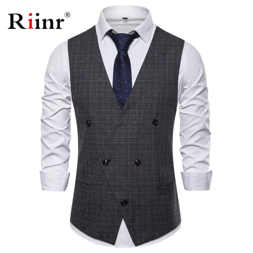 2019 New Arrival Men Suit Vest Fashion Design Mens Slim Fit Black Gray Grid Vest Autumn Casual Men Single Breasted Waistcoat