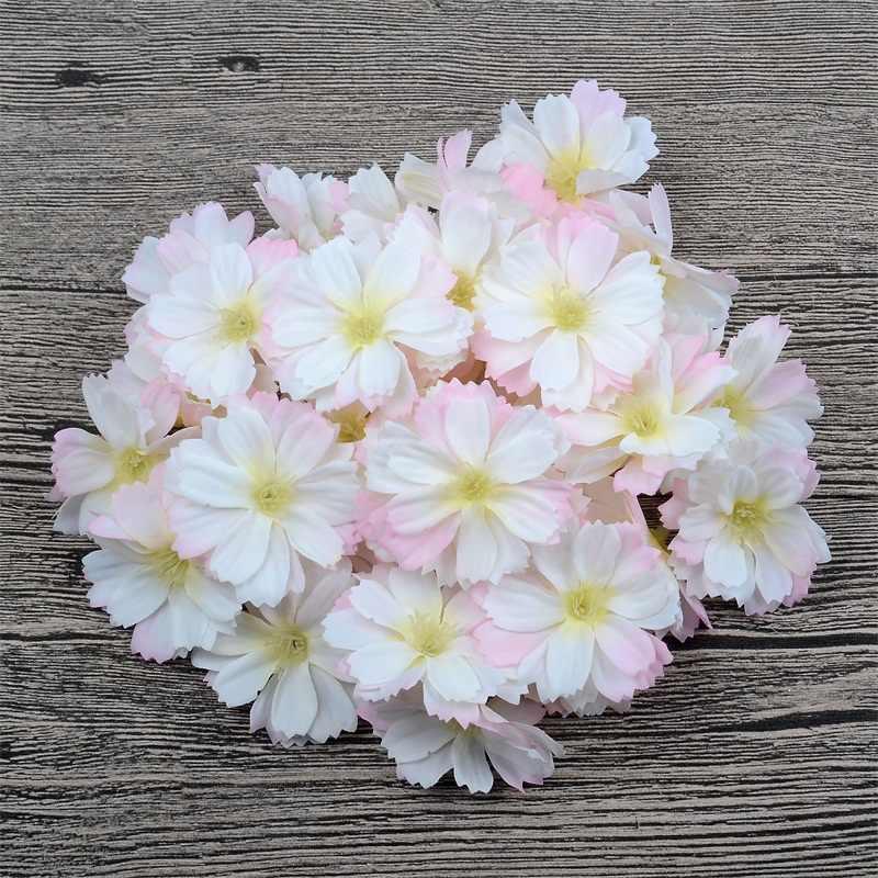 10/100 pçs mini cabeça de flor de seda artificial margarida para o casamento casa decoração handwork diy acessórios guirlanda falso flor