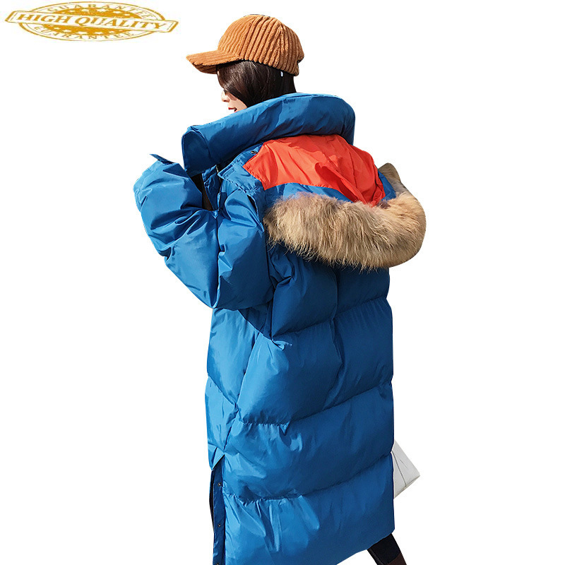 Women's Down Jacket Long Korean Winter Coat Women Oversized Thick Duck Down Clothes Raccoon Fur Collar 2020 850 KJ2552