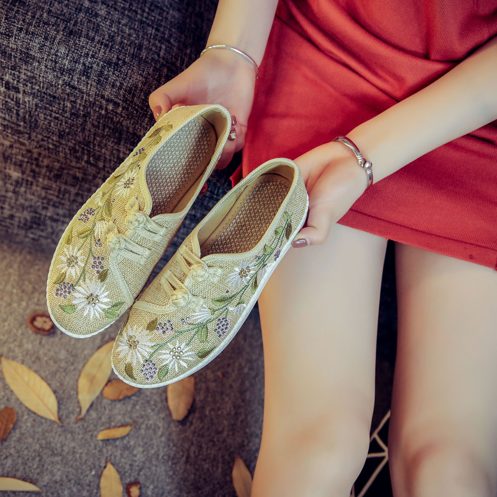 Image 5 - Veowalk Clearance Sale Flowers Embroidered Womens Linen Canvas Slip On Flat Shoes Dual Cotton Buttons Ladies Comfort Loaferslady comfortzapatos mujerflat shoes -
