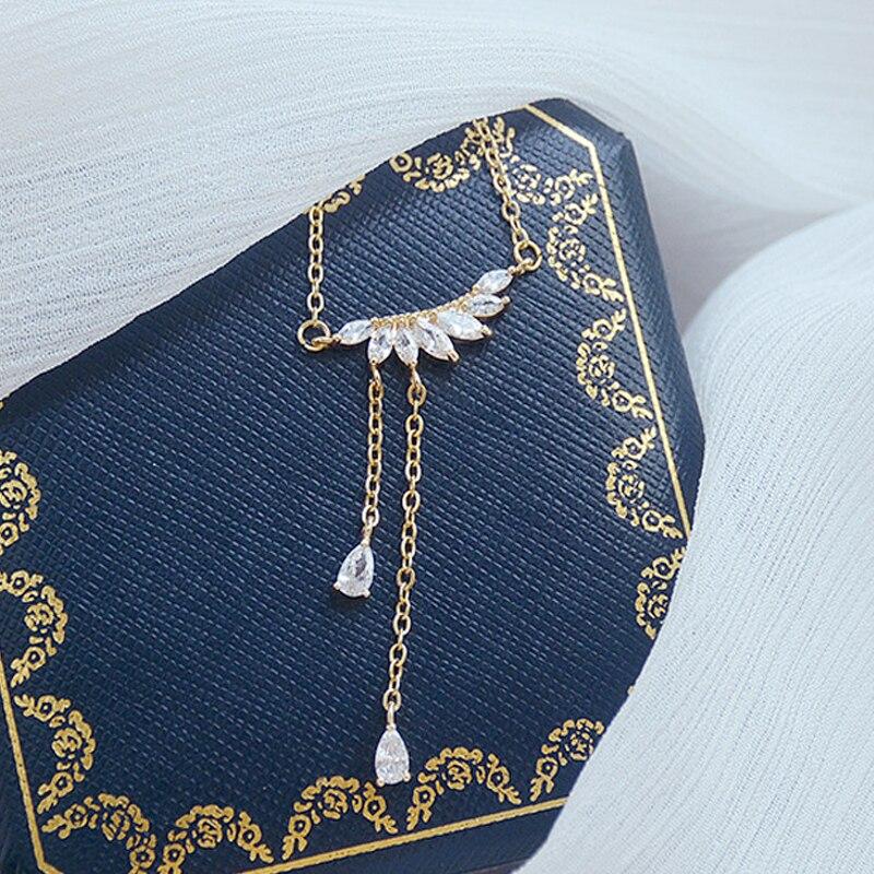 Luxury Shine Crystal Rhinestone Angel Wing CZ Necklace for Women AAA Cubic Transparent Zirconia Clavicel Chain Bijoux Pendant