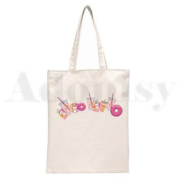 Ice Coffee Splatter Charli DAmelio Ulzzang Print Reusable Shopping Women Canvas Tote Bags Eco Shopper Shoulder Bags 13
