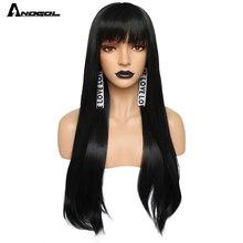 """Anogol peluca sintética para mujer peluca larga y recta de 26 """", color burdeos, rosa, gris, negro, Rubio Natural, blanco, con explosión de flequillo plano"""