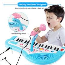 Children's 37 Key Electronic Keyboard Piano Organ Toy Set With Microphone Music Player Kids Educational Toy For Birthday Gift