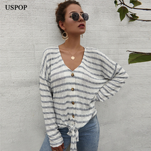 USPOP 2019 New Autumn cardigans women tops soft striped sweaters Sexy v-neck knit shirts casual lace-up thin