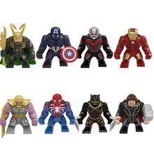 цены 1Set Big Size Iron Man Ant-Man Captain America Loki Thor Spider-Man Thanos Figures Building Blocks For Children Toys PG8258