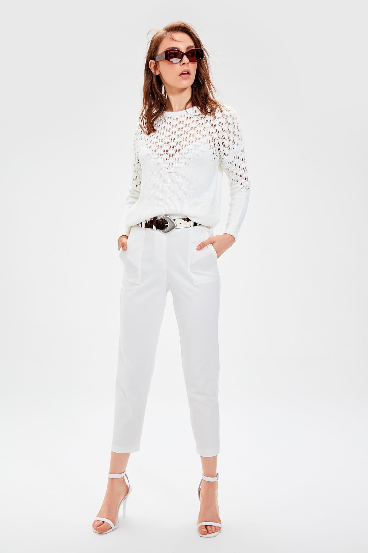 Trendyol White Belted Pants TWOAW20PL0155