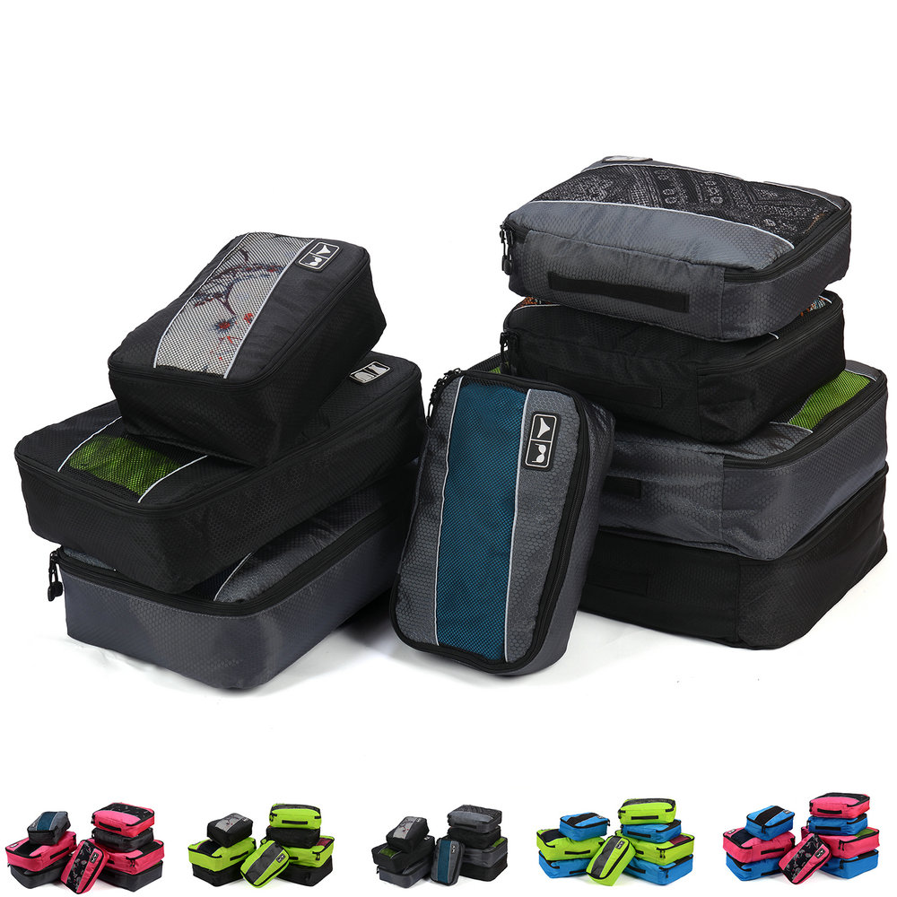 Image 2 - Soperwillton Men Women Travel Bag Male Female 210D Polyester 3 4 6  8 Pieces Packing Cubes Travel Luggage Organizer Cube Set #501Travel  Bags