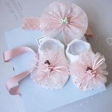 Newborn Baby Girl Lovely Socks Headband Set Flower Bowknot Crown Lace Headwrap + Booties Lace Cute Animal Decor Socks 2Pcs Set