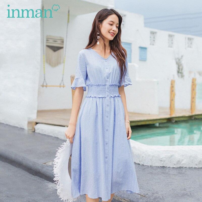 INMAN 2020 Summer New Arrival Fresh Lace Cuff Short Sleeve Nipped Waist Double-deck Dress