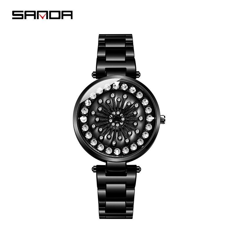 SANDA Women's Watches Quartz Watches Sports Watch with Rhinestones Brand Luxury Lady Christmas Woman Watch Waterproof Female