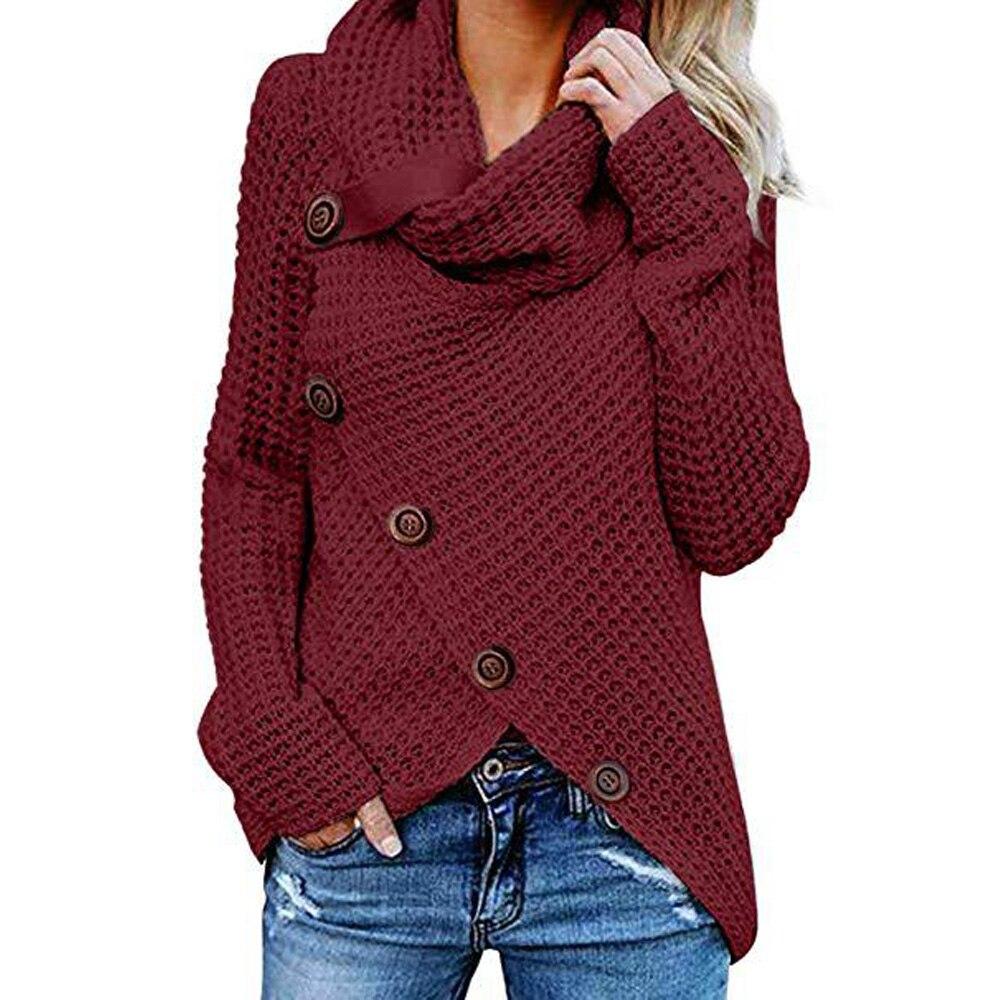 Ladies Womens Pullover Buckle Decoration Irregular Winter Sweatshirt Autumn Plus Size Knitted Knitwear Outwear