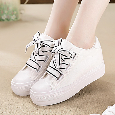 Women Fashion Ladies Lace Up Sneaker High Top Casual Caché Talons Hauts Plateforme Chaussures