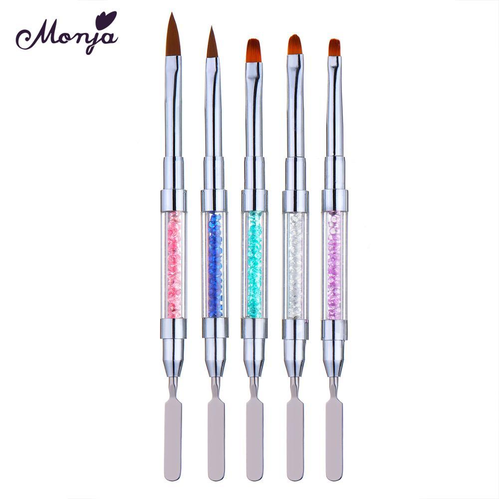 Monja, двухсторонняя акриловая УФ-Гелевая Кисть для дизайна ногтей, Удлиненная ручка для рисования, для дома, сделай сам, маникюрный лак для уд...